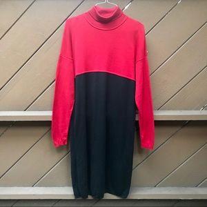 Vintage 90s Long Sleeve Turtleneck Sweater Dress